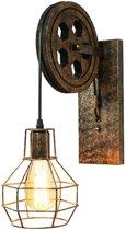 Vintage wandlamp katrol - Industrieel voor binnen - E27 Fitting - Hout Metaal - Roestig