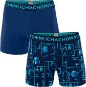 Muchachomalo Kitt Heren boxershort - 2 pack - Print/Blauw - Maat S