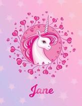 Jane: Jane Magical Unicorn Horse Large Blank Pre-K Primary Draw & Write Storybook Paper - Personalized Letter J Initial Cust