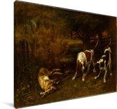 Jachthonden met dode haas - Schilderij van Gustave Courbet Canvas 30x20 cm - klein - Foto print op Canvas schilderij (Wanddecoratie woonkamer / slaapkamer)