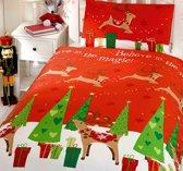 Peuter / junior kinderdekbedovertrek kerst met rendieren en cadeautjes onder de kerstboom