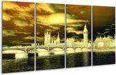 Glasschilderij Londen | Geel, Groen, Crème | 160x80cm 4Luik | Foto print op Glas |  F003444