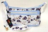 SEVERAL Omhang Schoudertas Vintage Bloemen en ruitjes patroon wit Lief!