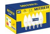 Pak Van 5 LED Mitreh 6W (gelijk is aan 60W gloeilamp)Candle E14 warm wit 3000K Dimmable [Energy Class A +]