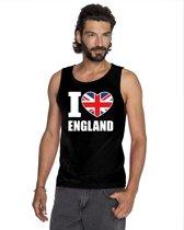 Zwart I love Groot-Brittannie supporter singlet shirt/ tanktop heren - Engels shirt heren XL