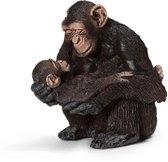 Vrouwelijke Chimpansee Met Baby