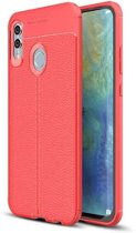 Teleplus Samsung Galaxy M20 Leather Textured Silicone Case Red + Full Closure Glass hoesje
