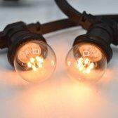 Prikkabel set met LED lampen, 10 meter met 10 fittingen - 0,7 watt lampjes 2000K
