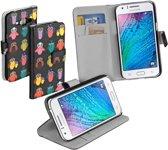 Zwart uil design booktype Samsung Galaxy J1 hoesje