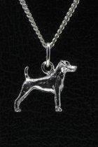 Zilveren Jack russell terrier parson gladhaar ketting hanger - klein