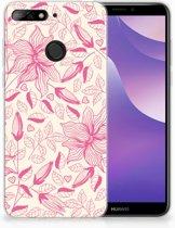 Huawei Y6 (2018) Uniek TPU Hoesje Pink Flowers