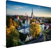 Skyline over het Stadshart van Tallinn in Estland Canvas 60x40 cm - Foto print op Canvas schilderij (Wanddecoratie woonkamer / slaapkamer)