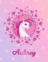 Aubrey: Unicorn Sheet Music Note Manuscript Notebook Paper - Magical Horse Personalized Letter A Initial Custom First Name Cov