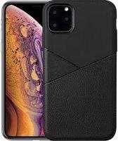 Hoesje voor Apple iPhone 11 Pro Max, gel case half lederlook, zwart