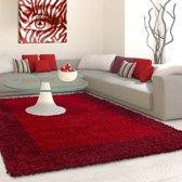 Hoogpolig shaggy vloerkleed 160cm rond rood lijstmotief