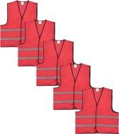 Veiligheidshesje - Veiligheidsvest - Volwassene - Rood - 5 stuks