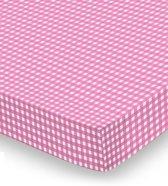 Damai Vichy Hoeslaken - Ledikant - 60x120 cm - Roze