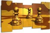 Canvas schilderij Spel | Geel, Bruin | 150x80cm 5Luik