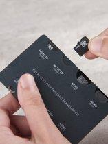 Credit Card formaat - Micro sim en nano sim adapter storage / adapter set – UNIQ Sim Adapter Traveller Kit – 8 in 1 & Micro SD opslag plaats