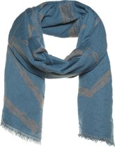 Amor Collections - Dubbel geweven sjaal - Wol - Denim/Blauw - 100x200 cm