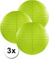 3 groene lampionnen 35 cm