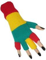 Handschoenen vingerloos gebreid uni rood/geel/groen
