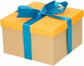 Neon oranje cadeaudoosje 18 cm met blauwe strik - kadodoosjes