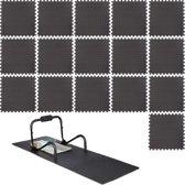 relaxdays 16 x vloertegel 60 x 60 cm  - fitness mat - zwart - ondergrond – uitbreidbaar