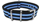 Max Horlogeband 5 NTS020 Nato Horlogeband - 20 mm - Zwart / Blauw / Zilverkleurig