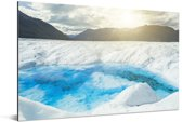 De zon schijnt mooi over de Perito Moreno gletsjer Aluminium 30x20 cm - klein - Foto print op Aluminium (metaal wanddecoratie)