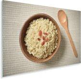 Gekookte quinoa in een houten kom Plexiglas 60x40 cm - Foto print op Glas (Plexiglas wanddecoratie)