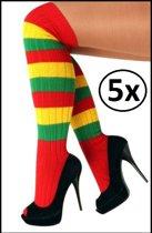 5x Kniekousen rood/geel/groen
