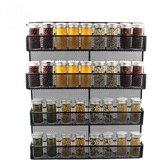 QUVIO Groot Kruidenrek staal - voor aan de wand - Specerijen en potjes - Zwart - Ophangbaar - Voor 32 Kruidenpotjes - 4 laags