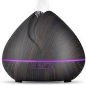 Candle Diffuser 550ML voor Aromatherapie | Aroma Diffuser | Inclusief 2x Etherische Olie | Humidifier | Luchtbevochtiger Aroma| USB Etherische Olie Diffuser | Luchtreiniger | Verdamper | Verstuiver | Vernevelaar | MoodLights LED Lamp | Woodgrain Hout
