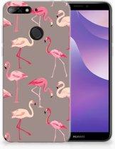Huawei Y6 (2018) Uniek TPU Hoesje Flamingo
