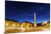 Avondfoto van de Franse stad Nantes Aluminium 90x60 cm - Foto print op Aluminium (metaal wanddecoratie)