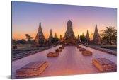 Mooie kleurrijke lucht boven Ayutthaya Aluminium 180x120 cm - Foto print op Aluminium (metaal wanddecoratie) XXL / Groot formaat!
