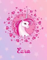 Ezra: Unicorn Large Blank Primary Sketchbook Paper - Pink Purple Magical Horse Personalized Letter E Initial Custom First Na
