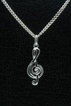 Zilveren Muzieksleutel ketting hanger - 2