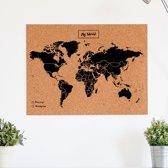 Miss Wood - WOODY MAP NATURAL kurken wereldkaart - 60x45cm  (L) - Zwart