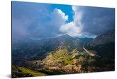 Luchtfoto van het mistige landschap van het Nationaal Park Lovćen Aluminium 90x60 cm - Foto print op Aluminium (metaal wanddecoratie)