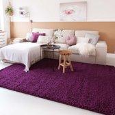 Hoogpolig vloerkleed shaggy Trend effen - paars 100x200 cm