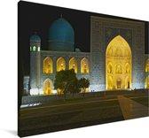 Het Registanplein verlicht in de avond Canvas 60x40 cm - Foto print op Canvas schilderij (Wanddecoratie woonkamer / slaapkamer)