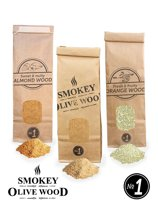 3X Smokey Olive Wood- 300ml, olijfhout rookmot - 300ml Amandel rookmot - 300ml Sinaasapple rookmot - Rookmeel fijn ø 0-1mm