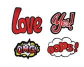 Strijk embleem 'Woorden oops/love/OMG/yes patch set (4)' – stof & strijk applicatie