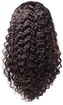 Front Lace Wig_100% Human Hair_ Braziliaanse Deep Curly, 20inch Pre Geplukt met Baby Haar