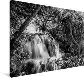 Zwart-wit beeld van het Nationaal park Krka in Kroatië Canvas 180x120 cm - Foto print op Canvas schilderij (Wanddecoratie woonkamer / slaapkamer) XXL / Groot formaat!