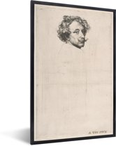 Foto in lijst - Zelfportret - Schilderij van Anthony van Dyck fotolijst zwart 40x60 cm - Poster in lijst (Wanddecoratie woonkamer / slaapkamer)