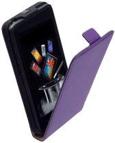 Lederen Flip Case Paars Motorola Moto E Flipcover Hoesje