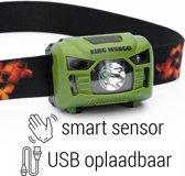 Hoofdlamp LED oplaadbaar | waterdicht | accu 1200mAh | groen | KMHL011